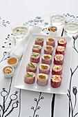 Various ham sushi