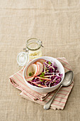Red cabbage and apple salad with lemon vinaigrette
