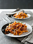 Strozzapreti al ragù misto (pasta with a meat ragout, Italy)