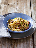 Spaghetti with anchovy and rosemary figs