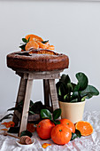 Still life of fresh appetizing cut and whole tangerine fresh tasty cake on small wooden stool and green plant in pot