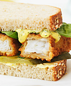 Sandwich with Cod Fish Fingers and Dill Mayo