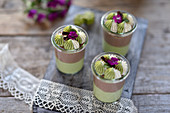 Vegan matcha and chocolate dessert in glasses