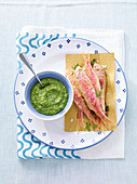 Triglie fritte con pesto alla menta (red mullet with mint pesto, Italy)