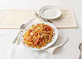 Tagliolini with lobster sauce and almonds