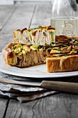 Savoury mortadella and courgette cake