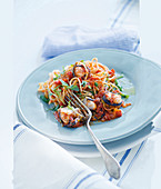 Spaghetti with aubergine sauce and monk fish
