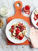 Strawberry and banana muesli with walnuts