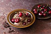 Chocolate ice cream, cherries and chocolate