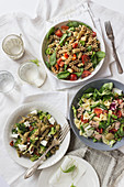 Three green pasta salads