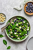 Spinach salad with blueberries, almonds and feta