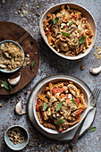 Tomato and mushroom pasta with sage and bread crumbs