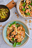 Shrimps with farfalle
