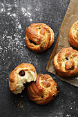 Yeast dough knot buns with raisins