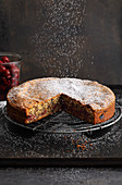 Fine cherry cake with icing sugar