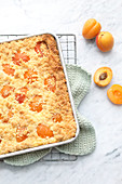 Quark and apricot crumble cake