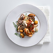 Rabbit with salsiccia, chestnuts and porcini mushrooms