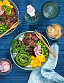 Lachs-Bowl mit Avocado, Edamame, Radieschen, Mango, Sesam, Reis, Koriander und Ingwer