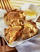 Pies, whole and halved