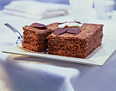 Chocolate cake decorated with chocolate leaves