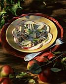 Herring salad in bowl