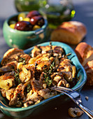 Tapas (marinated pork and olives)