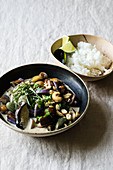 Thai aubergine curry with cashew nuts and fish sauce