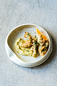 Asparagus in a hazelnut and champagne batter with an orange-butter mayonnaise