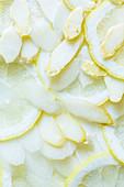 Sliced white asparagus with lemon