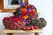Colourful potatoes in wire baskets and late-summer bouquet on bench