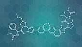 Velpatasvir hepatitis C virus drug molecule, illustration
