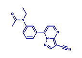 Zaleplon hypnotic drug molecule, illustration
