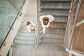 Nurses walking down the stairwell of a hospital