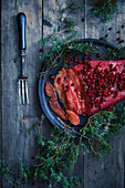 Lingonberry marinated salmon