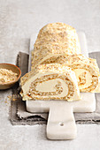 A white nut Swiss roll