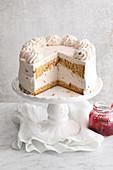 A buckwheat lingon berry cake