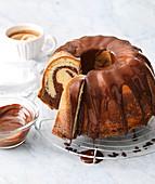 Classic Bundt cake with chocolate glaze