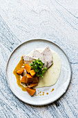 Sweet and sour pickled pumpkin with prime boiled veal