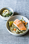 Creamy fennel with salmon fillet and roasted lemon rice