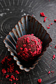 Chocolate truffles with dried raspberry topping