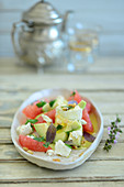Turkish avocado and grapefruit salad with marinated goat's cheese