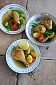 Braised Turkish chicken with cinnamon and lemon