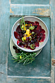 Turkish beetroot salad with black walnut cream and oranges