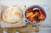 Turkish chickpea stew with pide