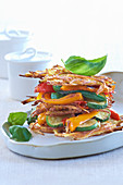 Potato turret with peppers and zucchini