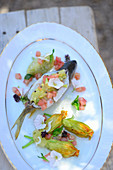 Stuffed perch with courgette flowers (Turkey)