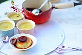 Turkish crème caramel with caramelised damsons
