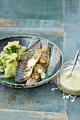 Türkische Makrele mit Safranmayonnaise und Kartoffelstampf