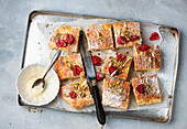 Scones with white chocolate and raspberries