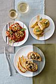 Aubergine rolls with tomato sauce, aubergine sandwiches and aubergine and mushroom caviar